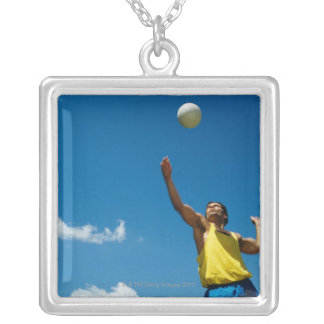 Man serving volleyball silver plated necklace