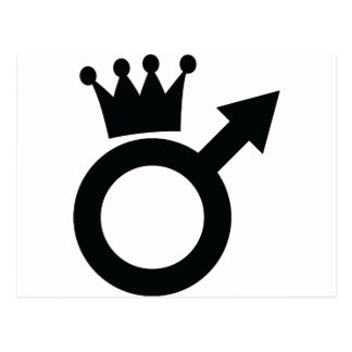 man sign with crown icon postcard