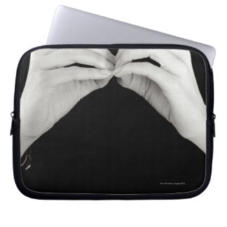 Man signing letter b in British sign language, Laptop Sleeve