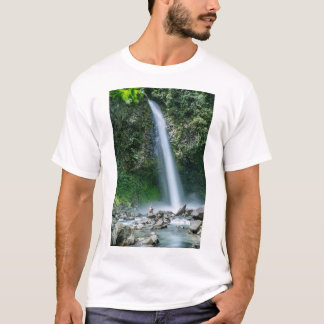 Man Sitting In Front Of Big Waterfall, Costa Rica T-Shirt
