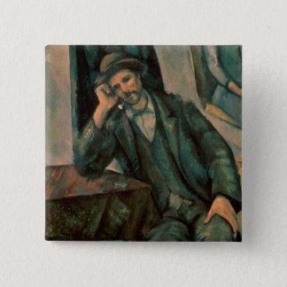 Man Smoking a Pipe 15 Cm Square Badge