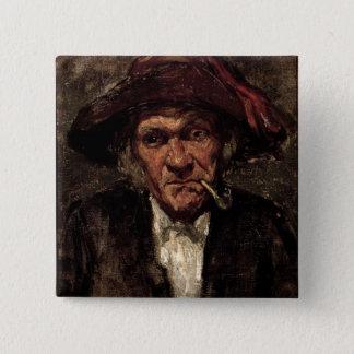 Man smoking a pipe, c.1859 15 cm square badge