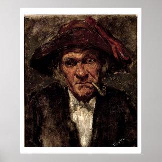 Man smoking a pipe, c.1859 poster