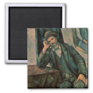 Man Smoking a Pipe Square Magnet