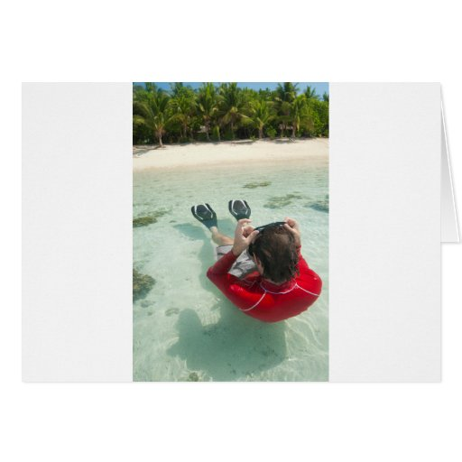 Man snorkeling in shallow water greeting card