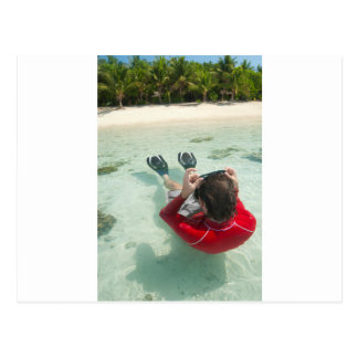 Man snorkeling in shallow water postcards