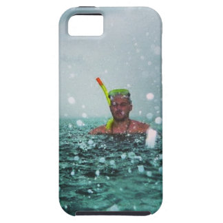 Man snorkelling in a stormy sea iPhone 5 cover