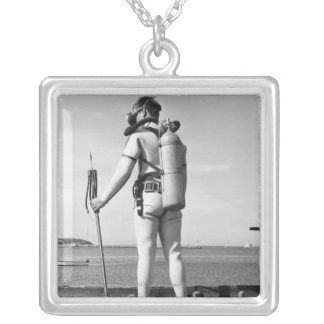 Man Standing on Pier Silver Plated Necklace