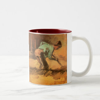 Man Stooping with Stick or Spade; Vincent van Gogh Two-Tone Mug