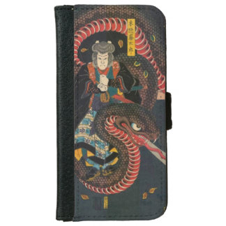 Man Summons Snake- Japanese Woodblock Print iPhone 6 Wallet Case