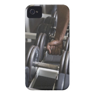 Man taking weight from rack iPhone 4 case