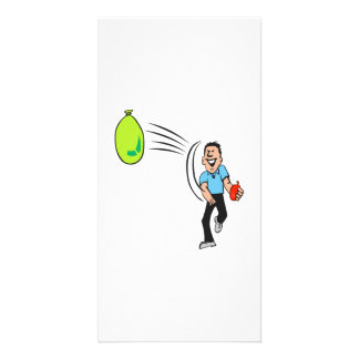 Man Throwing a Water Balloon Photo Cards
