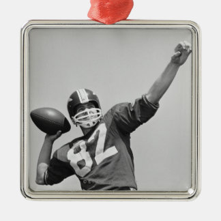 Man throwing football Silver-Colored square decoration
