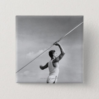 Man Throwing Javelin 15 Cm Square Badge