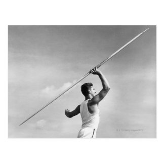 Man Throwing Javelin Postcard