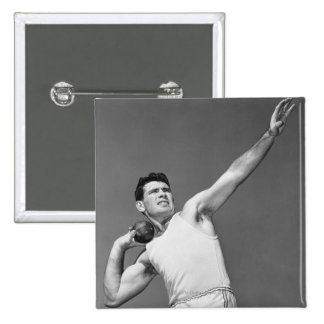 Man Throwing Shotput 15 Cm Square Badge