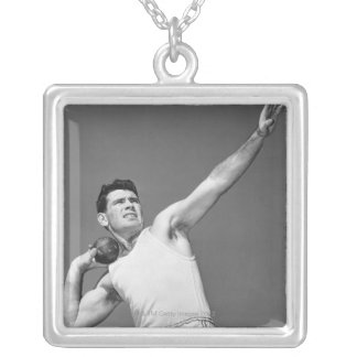 Man Throwing Shotput Silver Plated Necklace