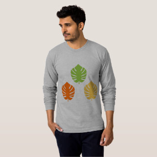 MAN TSHIRT GREY WITH LEAVES EXOTIC