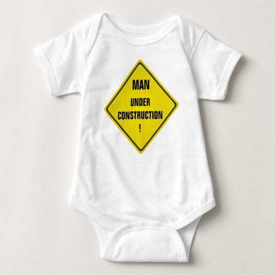 Man under construction baby bodysuit