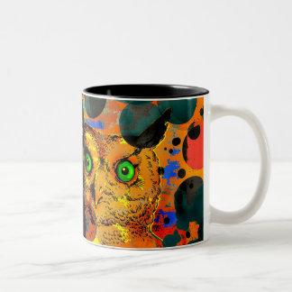 Man Vs Owl Two-Tone Coffee Mug