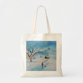 Man walking dog in snow winter mountain scene canvas bags