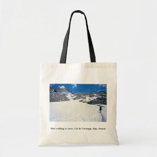 Man walking in snow Col du Fromage Alps France Tote Bag