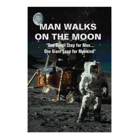 Man Walks on the Moon Astronaut and Earth