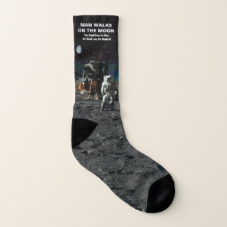 Man Walks on the Moon Astronaut in Space Socks