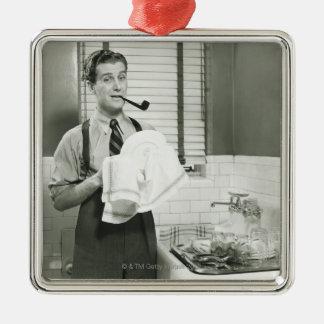 Man Washing Dishes Christmas Ornament