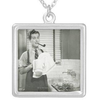 Man Washing Dishes Square Pendant Necklace