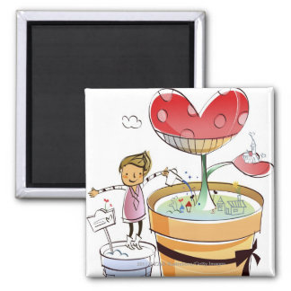 Man watering a potted plant square magnet