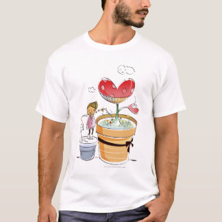 Man watering a potted plant T-Shirt