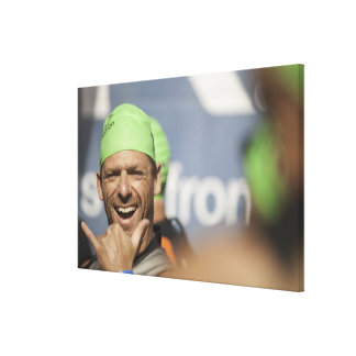Man wearing swimming cap at starting line of Los Canvas Print