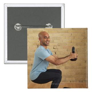 Man Weight Training 15 Cm Square Badge