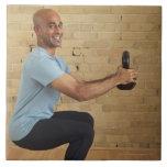 Man Weight Training Large Square Tile