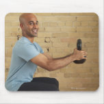 Man Weight Training Mouse Pad