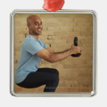 Man Weight Training Ornament