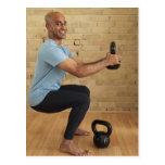Man Weight Training Postcard