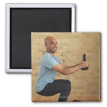 Man Weight Training Square Magnet