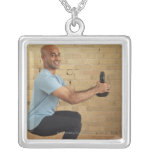Man Weight Training Square Pendant Necklace