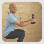 Man Weight Training Square Stickers