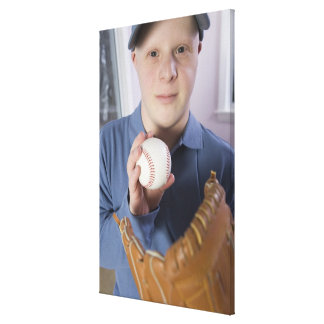 Man with a baseball glove and a baseball gallery wrapped canvas