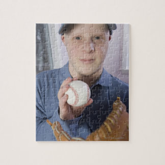 Man with a baseball glove and a baseball jigsaw puzzle