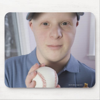 Man with a baseball glove and a baseball mouse pad