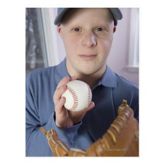 Man with a baseball glove and a baseball postcard
