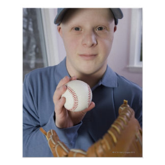 Man with a baseball glove and a baseball poster