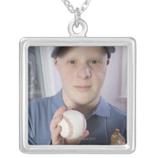 Man with a baseball glove and a baseball silver plated necklace