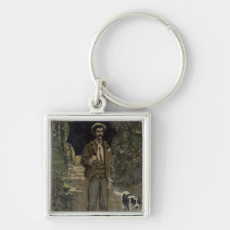 Man with an Umbrella, c.1868-69 Silver-Colored Square Key Ring