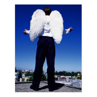 Man with angel wings postcard