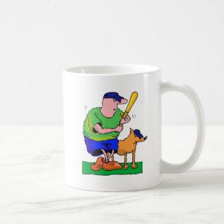 man with bat and dog mugs